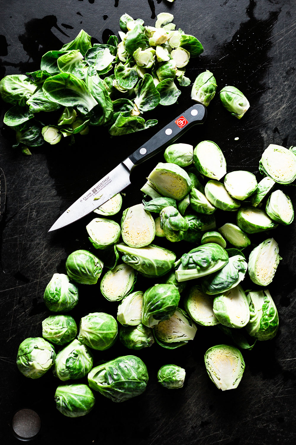 brussels sprouts cleaned, trimmed and halved
