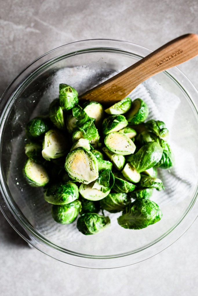 Brussels sprouts with olive oil and salt and pepper