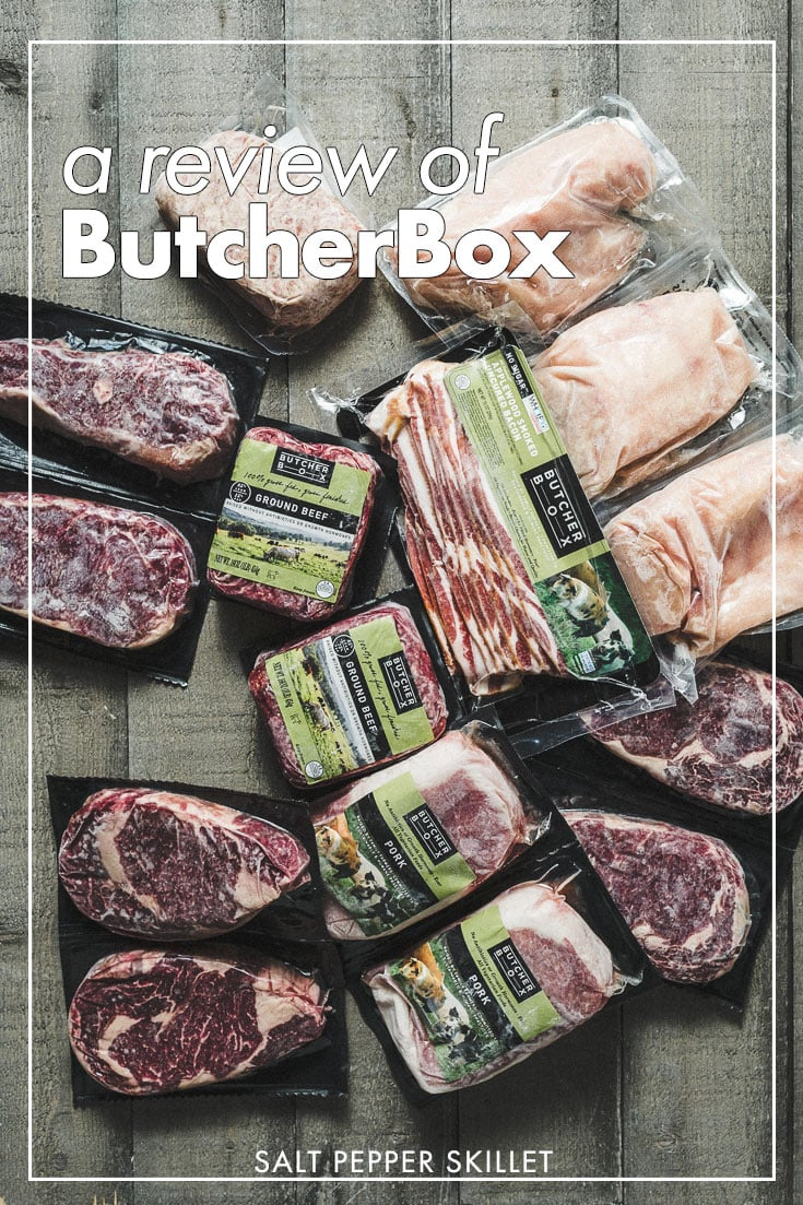 A Butcher Box review from someone who loves going to the grocery store. How it can help simplify your life and be a solution for busy families who care about sourcing high-quality meats while saving time so they can focus on the meal. #butcherbox