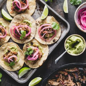 carnitas tacos flatlay horzontal