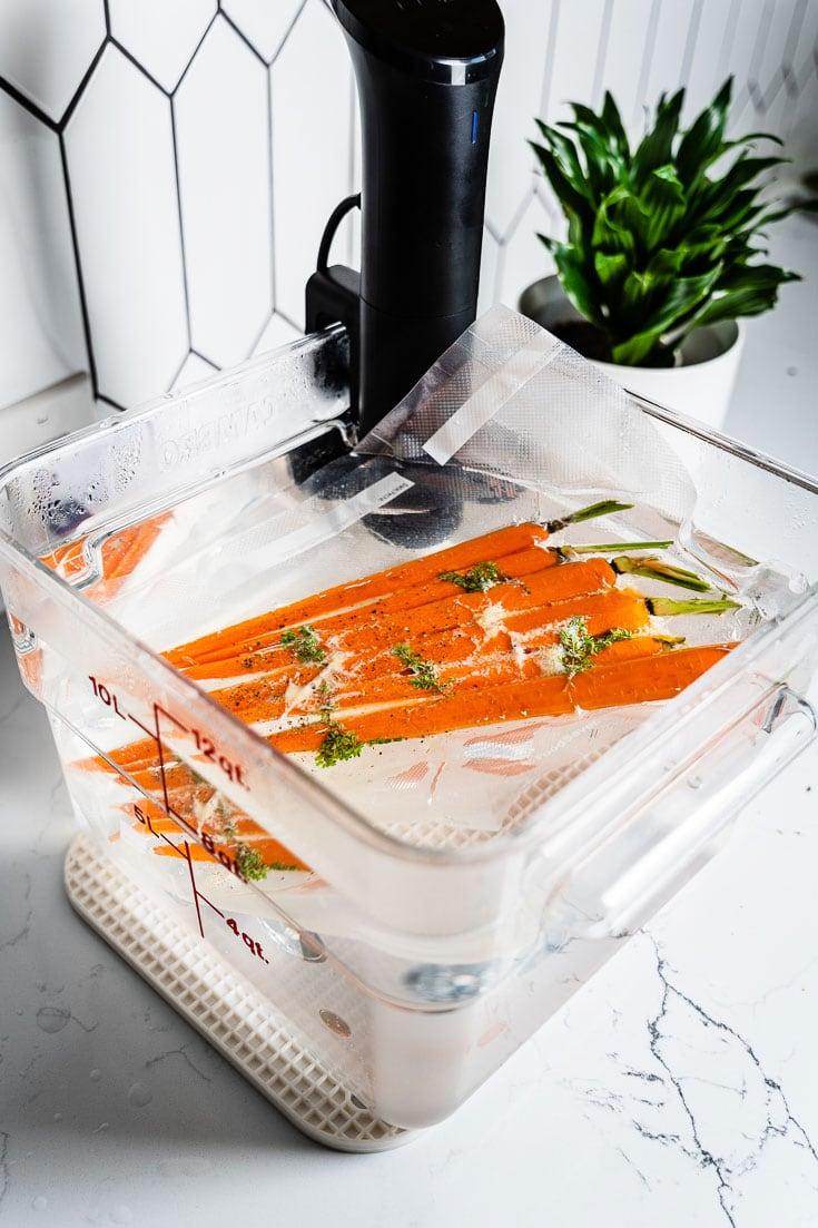 carrots in sous vide water bath