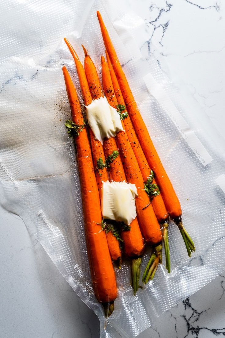 carrots vacuum sealed for sous vide