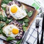 Cauliflower Veggie Toast with Fried Eggs pacesetting with newspaper
