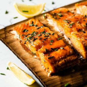 cedar plank salmon close up 2 horizontal