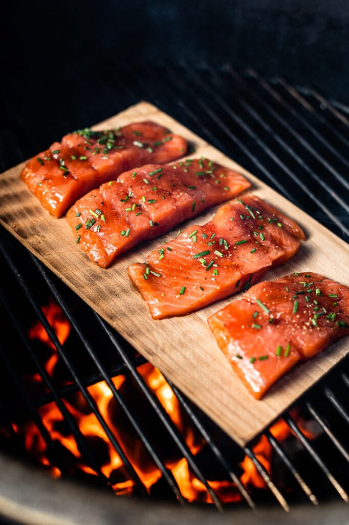 cedar plank salmon on grill vertical 1