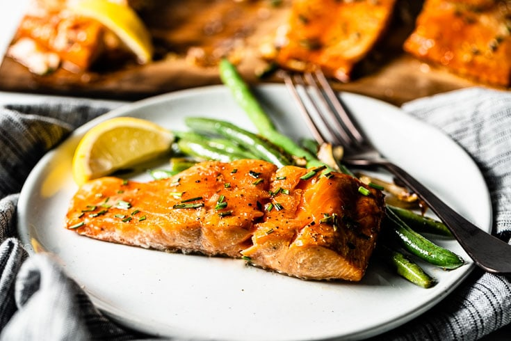 cedar plank salmon on plate horizontal