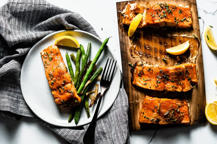 cedar plank salmon recipe on plate overhead