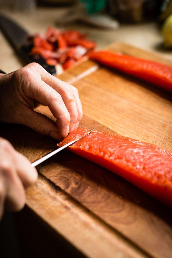 chef jen making copper rier salmon crudo