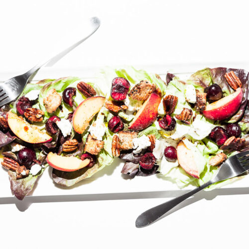 Cherry and Peach Salad + Candied Pecans and Goat Cheese