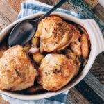 Easy Chicken Thighs + Fingerling Potatoes | SaltPepperSkillet.com