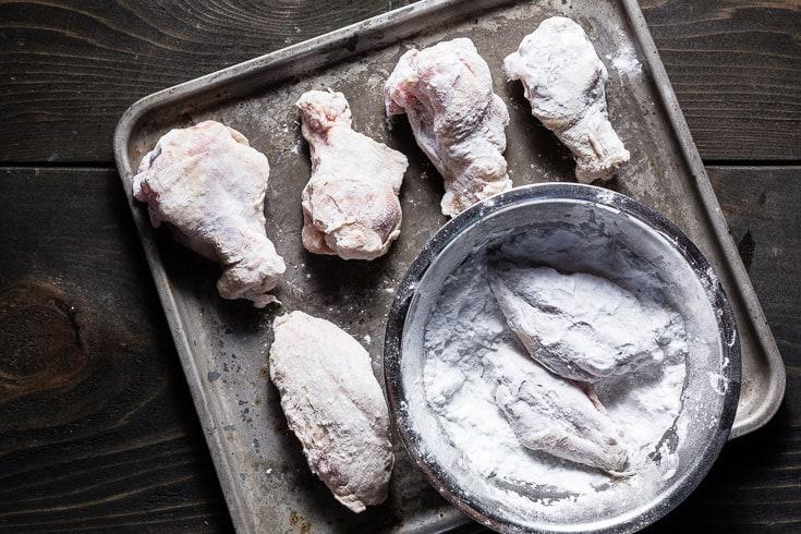 chicken wings dredged in potato starch 735