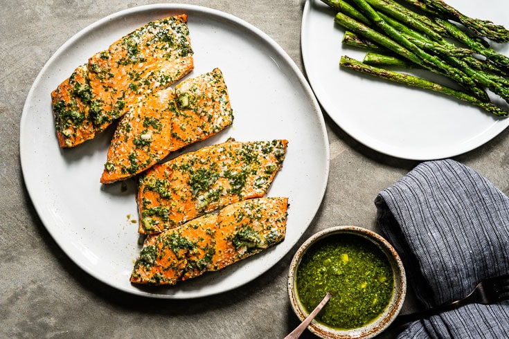 chimichurri grilled salmon on grill