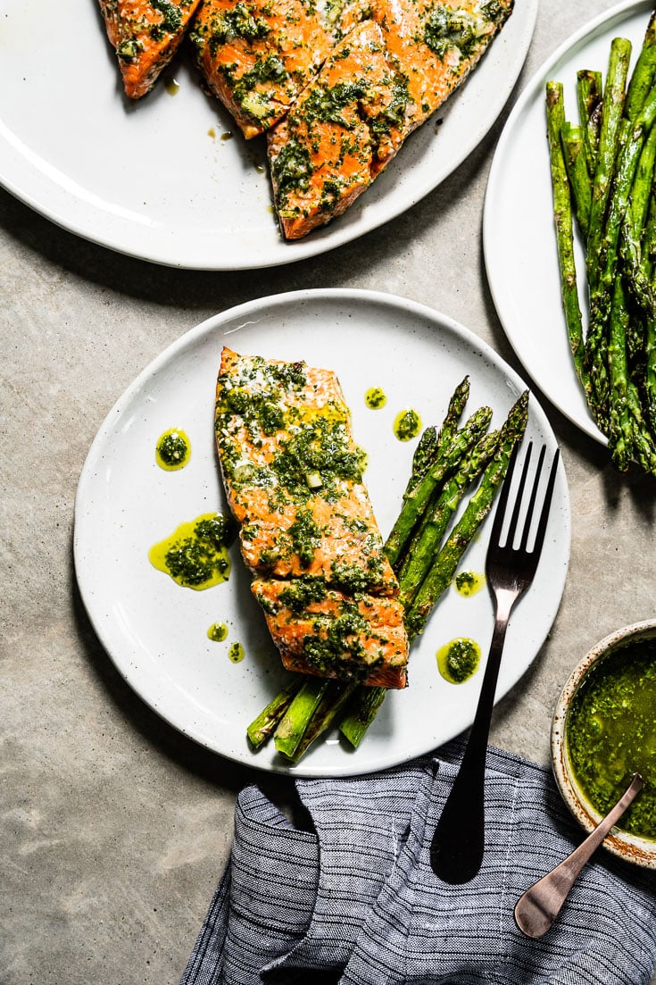 chimichurri grilled salmon overhead vertical