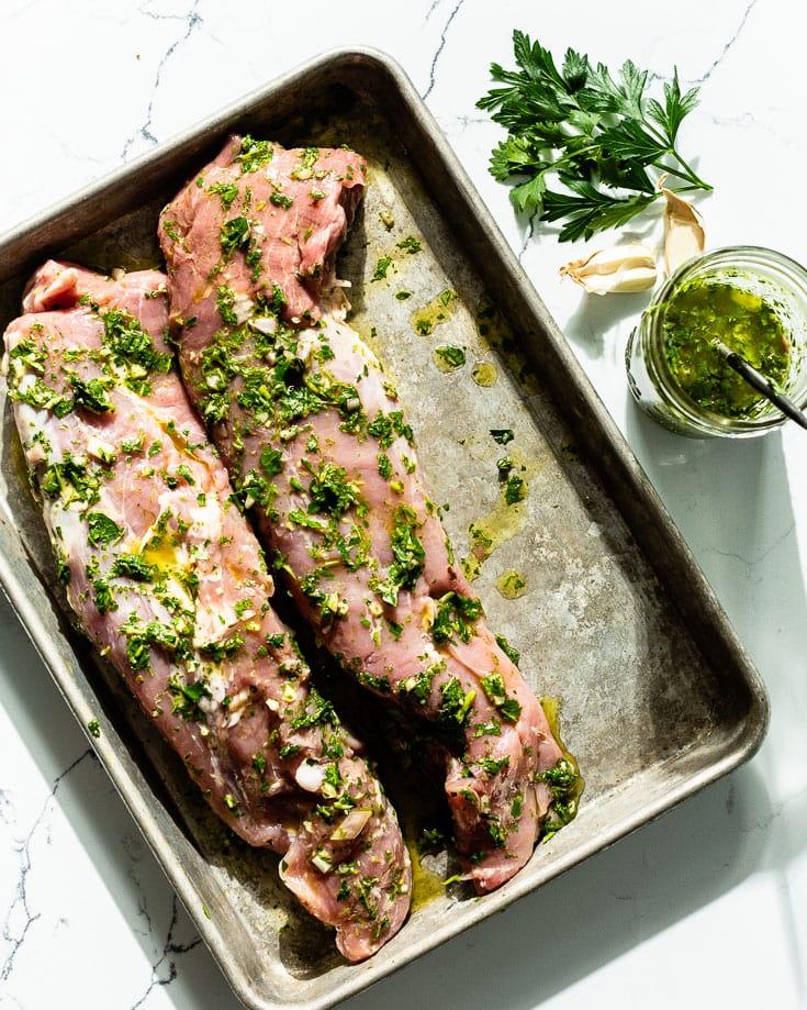 chimichurri marinated pork tenderloin