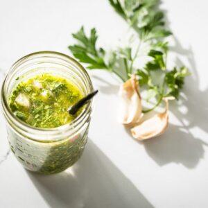 chimichurri sauce in jar horizontal