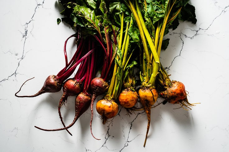 colorful beets with tops horizontal
