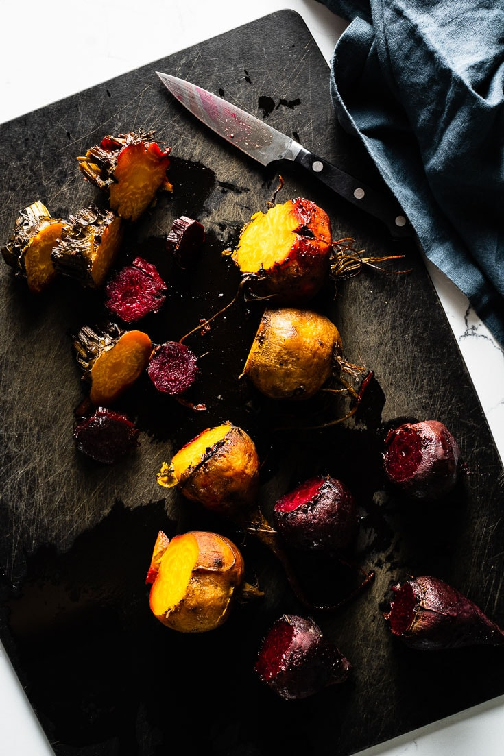 colorful roasted beets on cutting board overhead