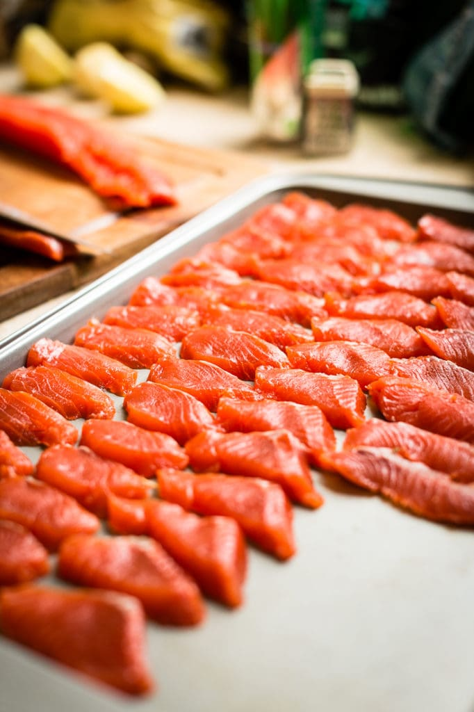copper river salmon crudo on sheet pan prep