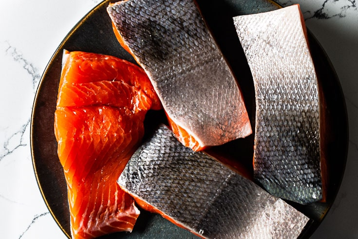 copper river sockeye salmon filets overhead