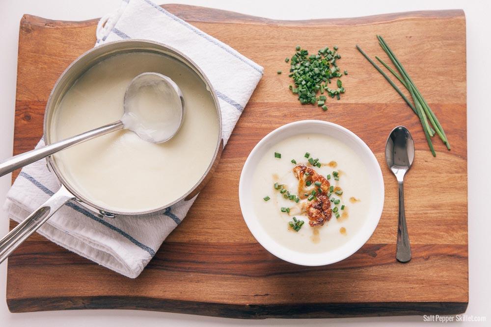 Creamy Cauliflower Soup | SaltPepperSkillet.com