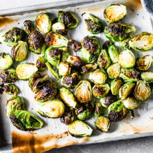 crispy brussels sprouts on sheet pan