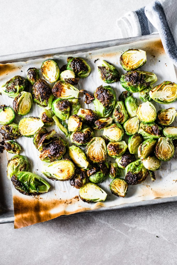 Crispy roasted brussels sprouts on sheet pan