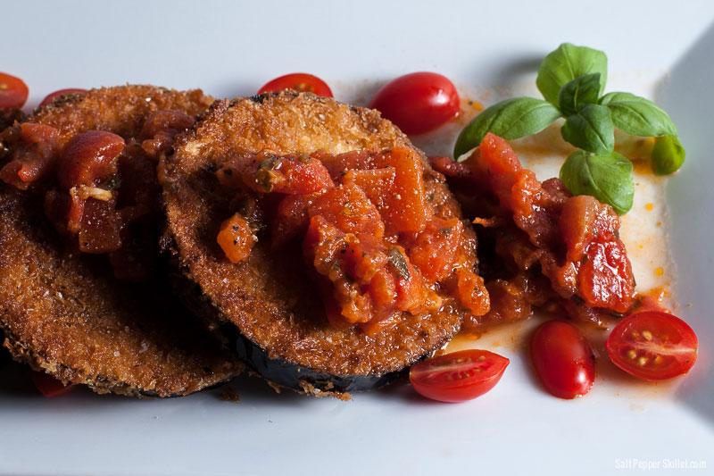 Crispy Eggplant Bruschetta | SaltPepperSkillet.com