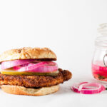 Crispy Pork Sandwich + Pickled Onions | SaltPepperSkillet.com