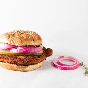 Crispy Pork Sandwich + Pickled Onions | SaltPepperSkillet.com