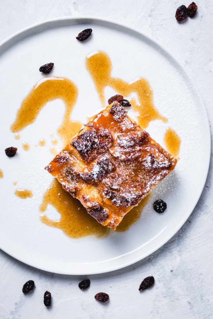 croissant bread pudding on plate overhead