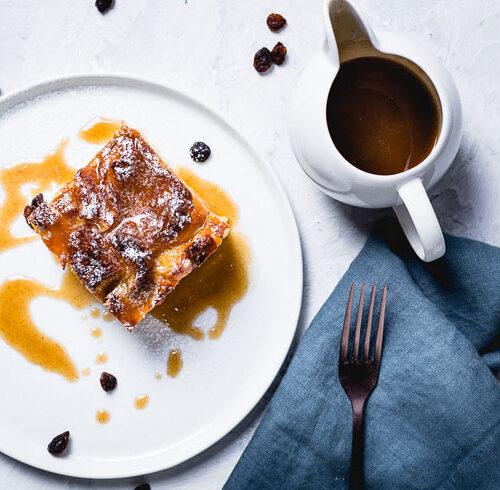 croissant bread pudding overhead horizontal