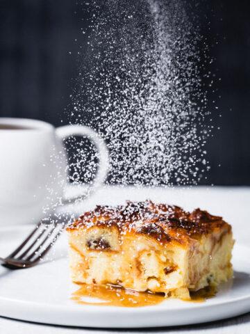 croissant bread pudding powdered sugar dusting