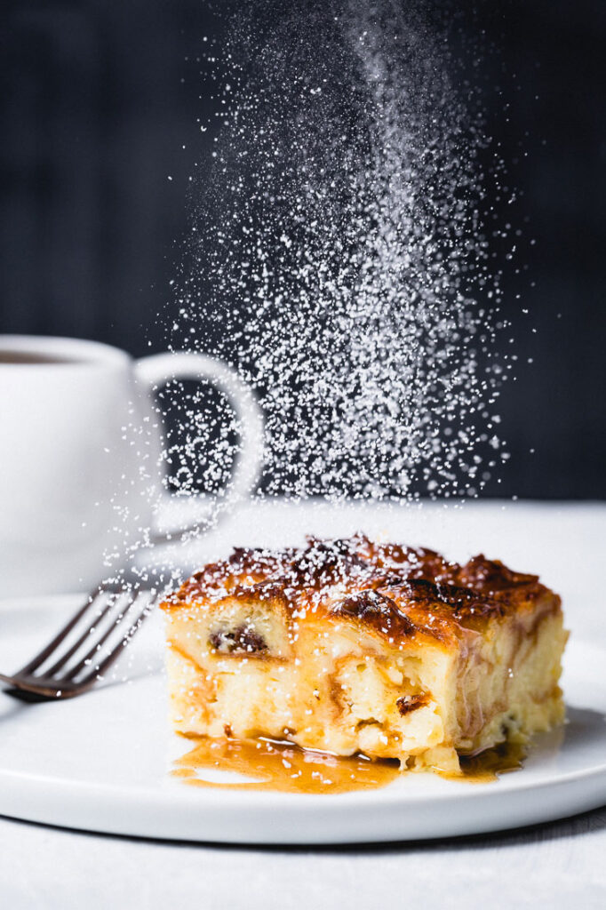 croissant bread pudding powdered sugar dusting