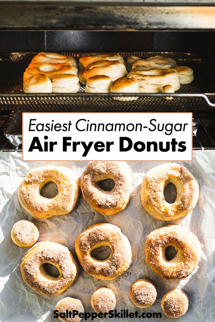 Easiest Air Fryer Donuts - 4 ingredient cinnamon-sugar air fryer donuts are ready in less than 10 minutes and will satisfy that donut craving. #donuts #airfryer