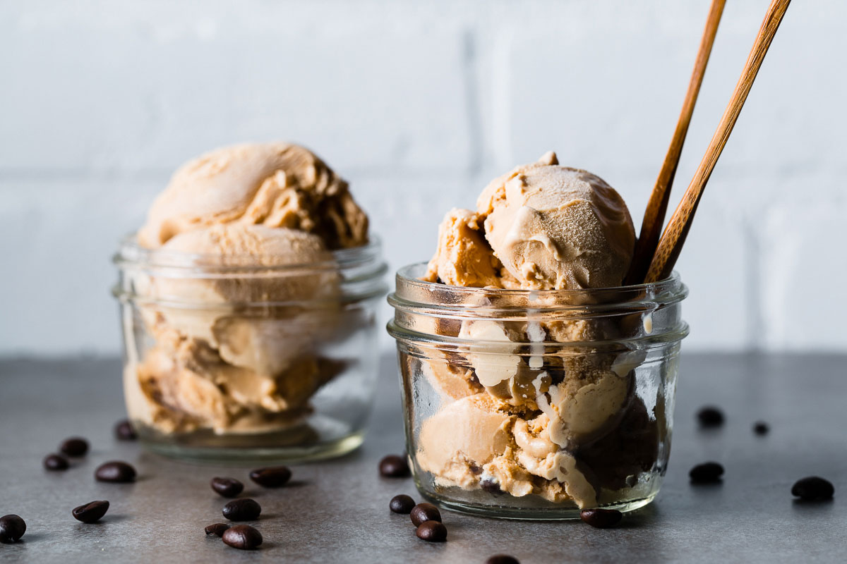 espresso ice cream in jar horizontal