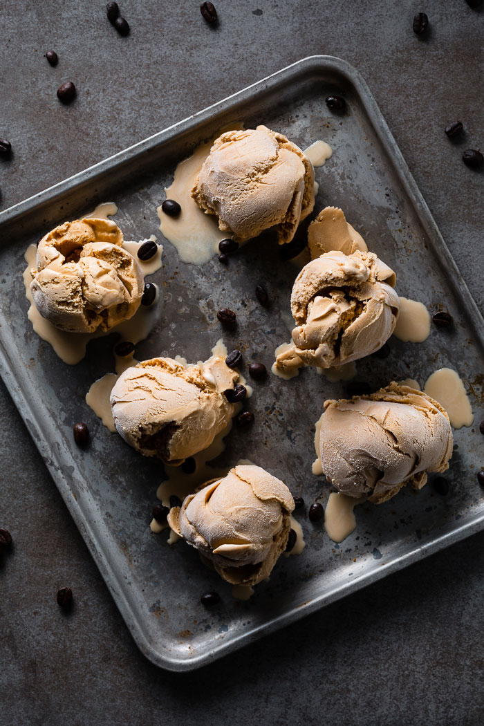 espresso ice cream scoops on sheet pan