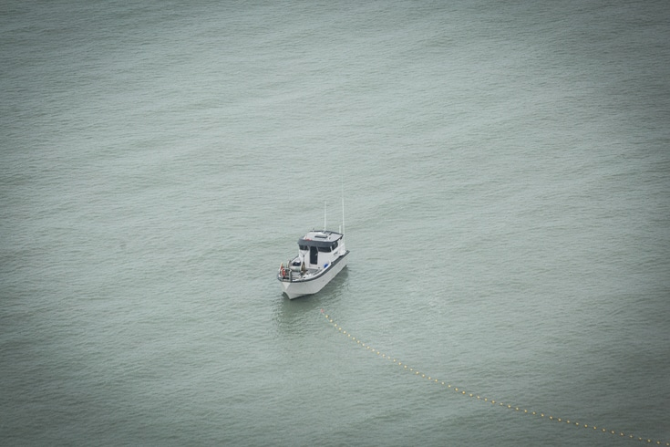 fishing boat from the air over copper river
