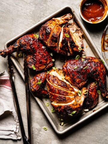 grilled bbq chicken with bbq sauce on sheet pan 2