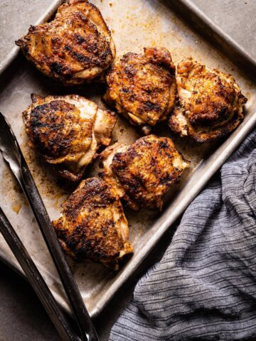 grilled chicken thighs overhead