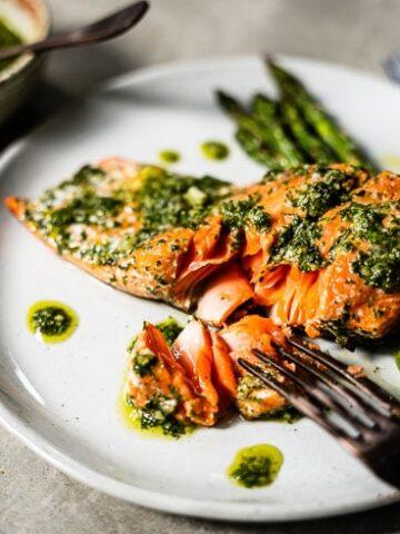 grilled chimichurri salmon on fork horizontal 2