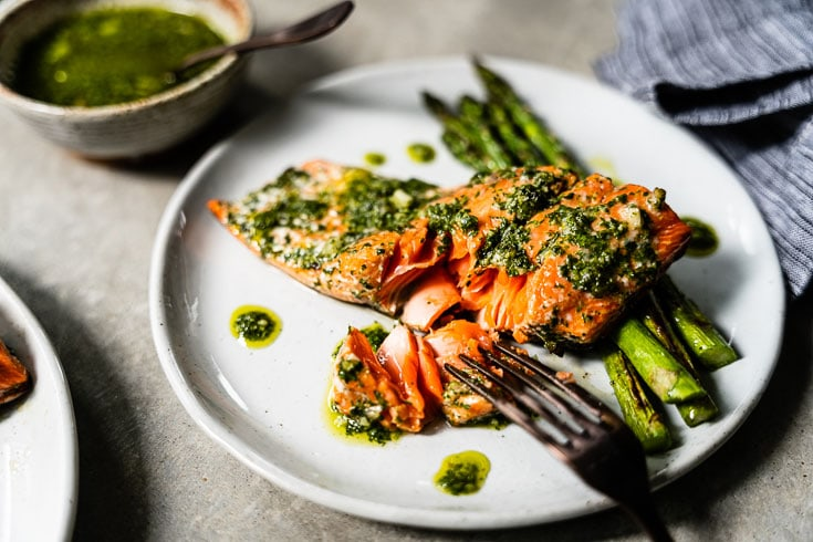 grilled chimichurri salmon on fork horizontal 2