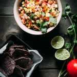 Grilled corn salsa with corn tortilla chips