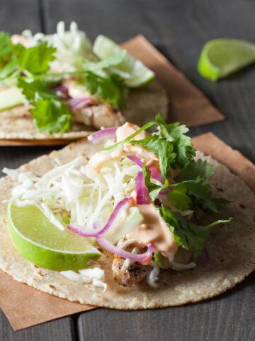Grilled Fish Tacos Recipe | SaltPepperSkillet.com