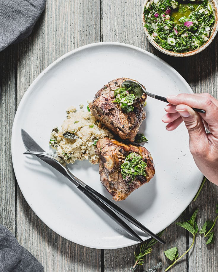 grilled lamb chops with mint chimichurri overhead