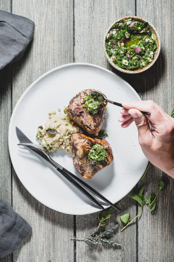 grilled lamb chops with mint chimichurri saucing
