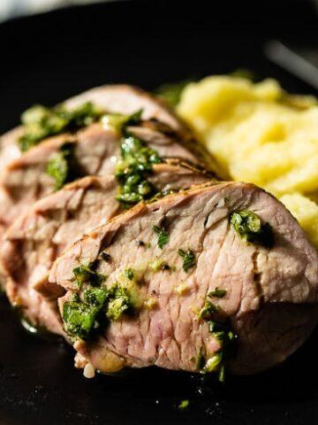 grilled pork tenderloin on plate horizontal