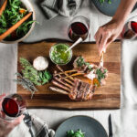 grilled rack of lamb mint chimichurri flatlay