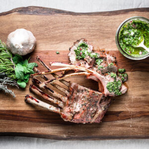 grilled rack of lamb mint chimichurri overhead