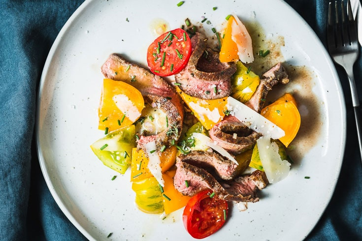 grilled steak heirloom tomato salad overhead