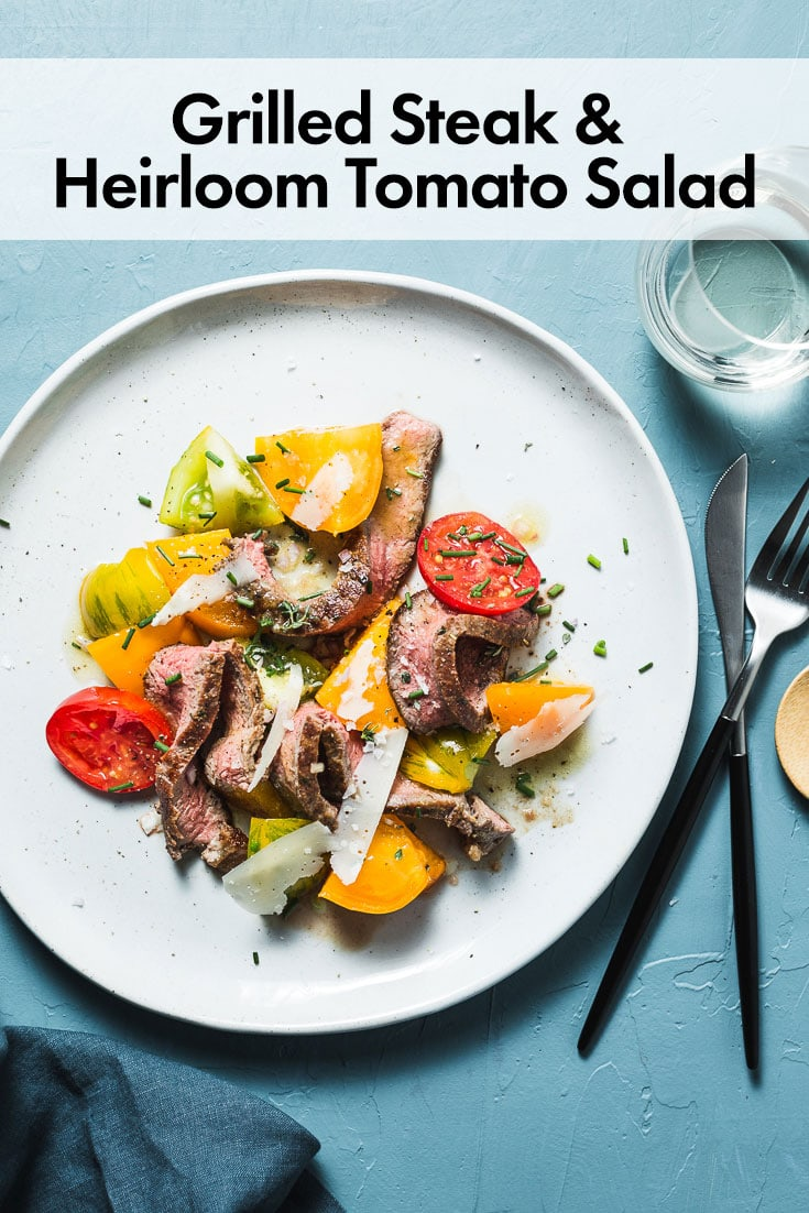 A quick and super satisfying salad of grilled New York strip steak, ripe heirloom tomatoes and a bright sherry vinaigrette are all you need to satisfy your end of summer salad cravings. #saltpepperskillet #grilling #steaksalad #heirloomtomatoes #steaksalad #summer